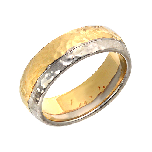 hammered ring two tone white and yellow gold - Lgbt Wedding Rings